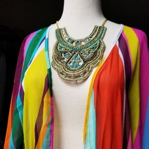 Jewelry - Teal & Crystal Earring & Bib Necklace Set